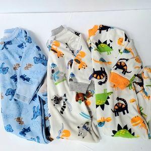 Carters -3 pairs- Fleece One Piece Footed Pajamas